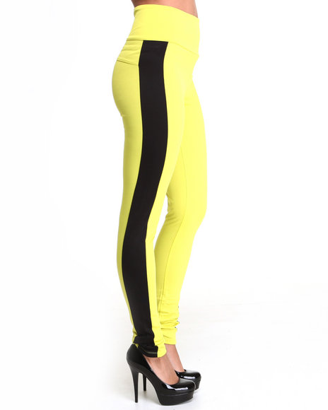 Apple Bottoms Women Yellow High Waisted Side Colorblock Zip Back Pant