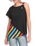 Women - Asymmetrical Mixed Fabric Fashion Top
