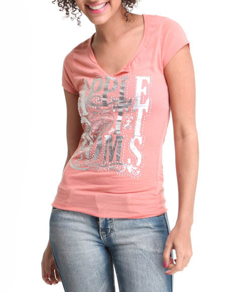 Apple Bottoms Women Pink Cut-Out Scoop Neck Logo Tee