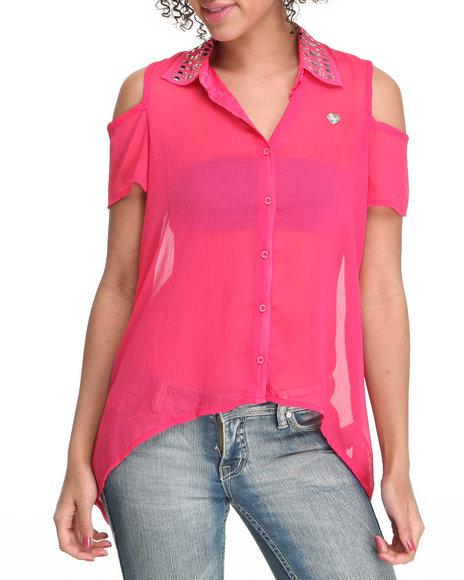 Apple Bottoms Women Pink Cold Shoulder Embellished Collar Chiffon Top