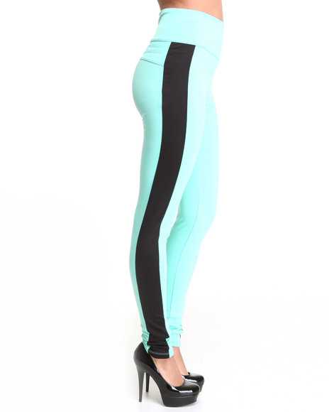 Apple Bottoms Women Teal High Waisted Side Colorblock Zip Back Pant