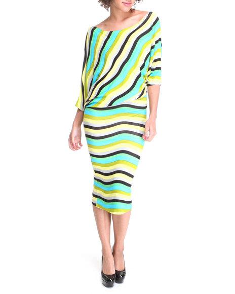 Apple Bottoms Women Teal Bias Cut Striped Maxi Dress