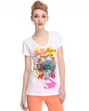 Tops - Indianed Short Sleeve V-Neck w/stones
