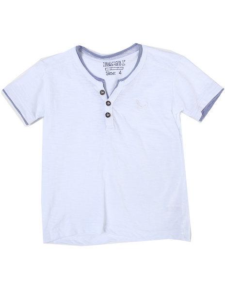 Arcade Styles Boys White S/S Slub Henley Tee (4-7)
