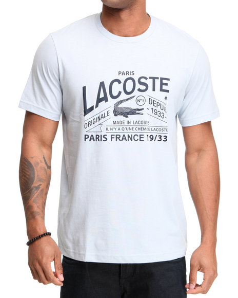 Lacoste Men Grey S/S Lacoste And Croc Graphic Tee