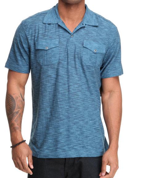 Company 81 Men Blue S/S Reverse Slub Polo Shirt