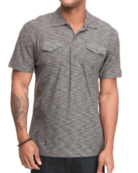Company 81 Men Black S/S Reverse Slub Polo Shirt