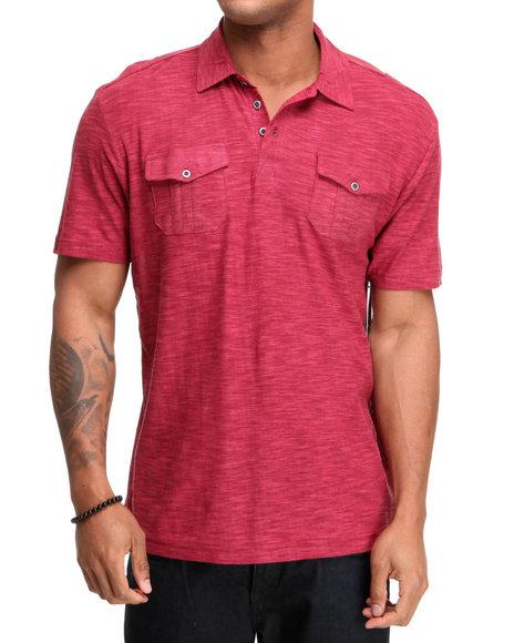Company 81 Men Red S/S Reverse Slub Polo Shirt