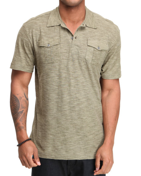 Company 81 Men Olive S/S Reverse Slub Polo Shirt
