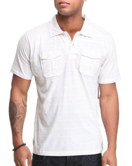 Company 81 Men Off White Dual Pocket Thin Striped Polo Shirt