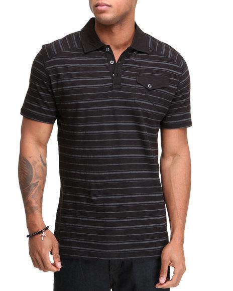 Company 81 Men Black S/S Slub Polo Shirt