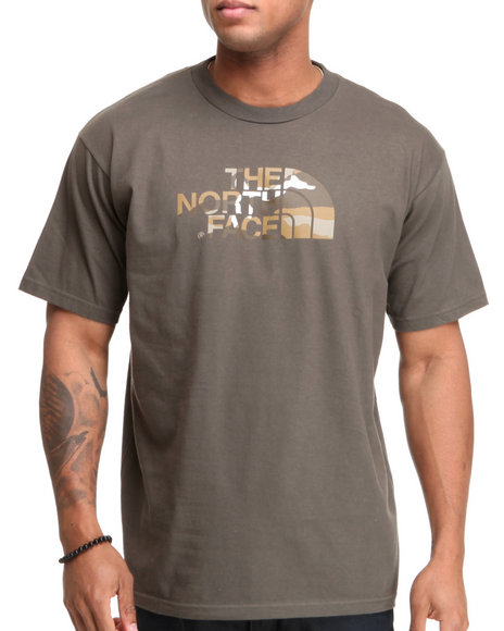 The North Face Men Green Camo Logo Tee