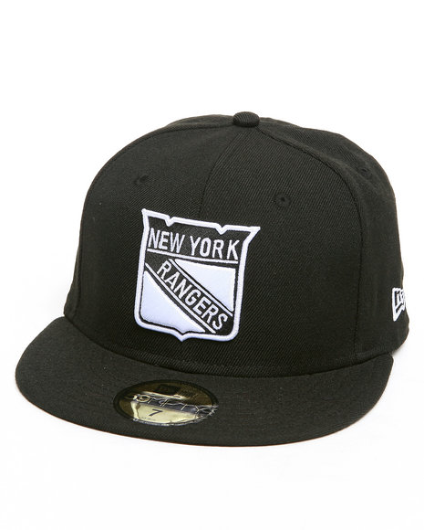 New Era - Men Black New York Rangers Nhl Black/White Basic 5950 Fitted Hat