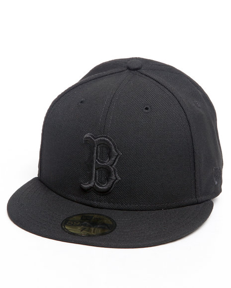 New Era Men Boston Red Sox All Black Everything 5950 Fitted Hat Black 7 58