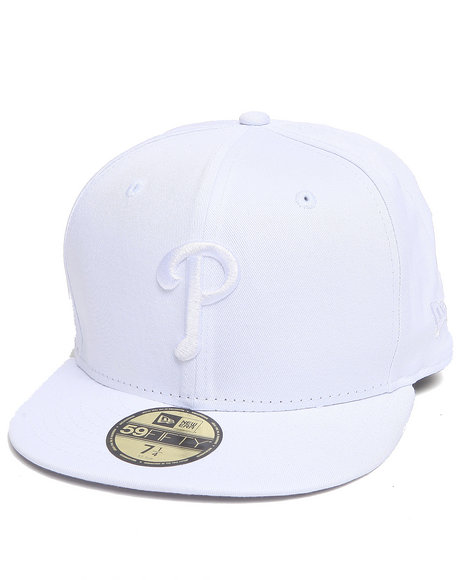 New Era - Men White Philadelphia Phillies Mlb White On White Basic 5950 Fitted Hat