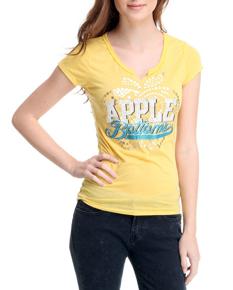 Apple Bottoms Women Yellow Cut-Out Scoop Neck Apple Logo Tee