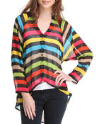 Long-Sleeve - Striped Cut-Out Back Chiffon Blouse