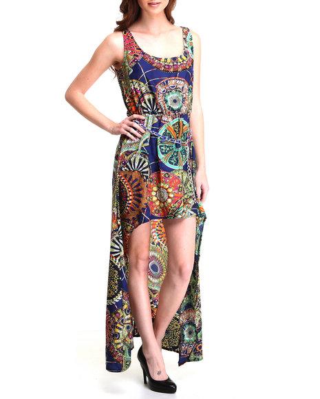 Apple Bottoms - Women Blue High Low Hem Printed Chiffon Dress