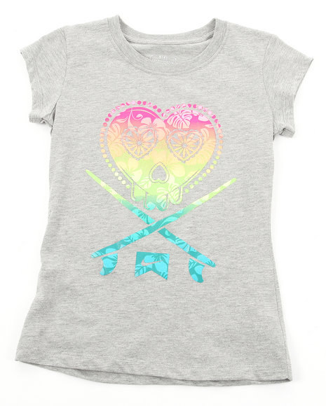 Nike Girls Grey Skull & Crossboards Tee (7-16)
