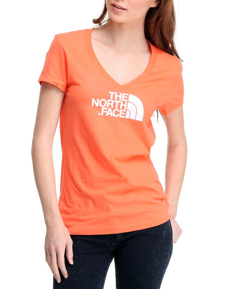 The North Face Women Orange Half Dome V-Neck Tee