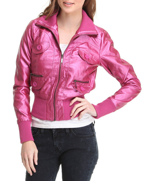 Basic Essentials - Women Purple Galaxay Metallic Bomber Jacket