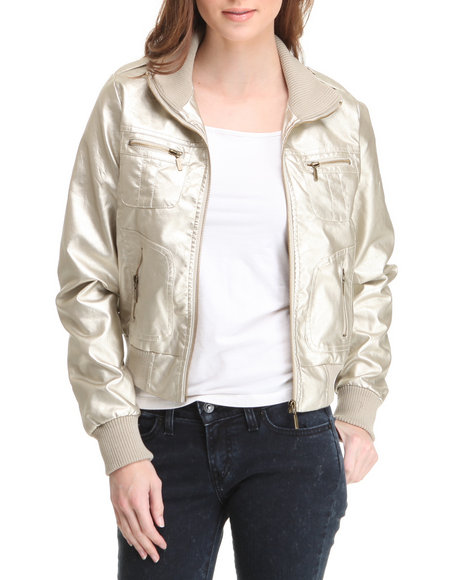 Basic Essentials Women Gold Ghost Ride Bomber Jacket