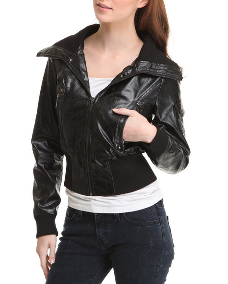 Basic Essentials Women Black Electric Snake Skin Vegan Leather Jacket