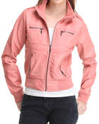 Women - Penny Mineral Wash Vegan Leather Bomber Jacket