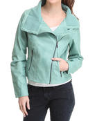 Women - Mineral Wash Asymetical Zip Up Motorcycle Jacket