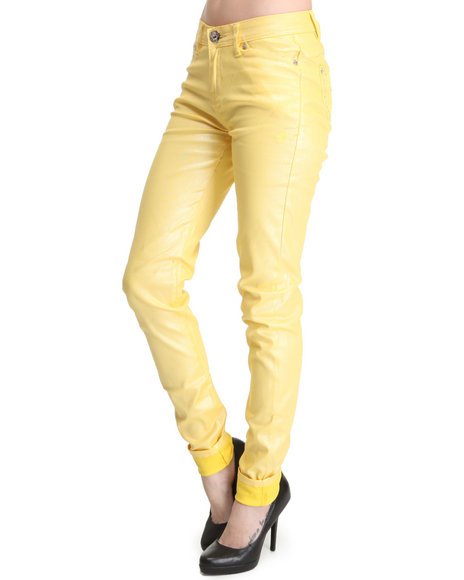 Apple Bottoms Women Yellow Shimmer Twill Pant