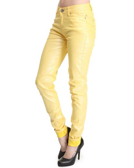 Apple Bottoms Women Yellow Shimmer Twill Pant