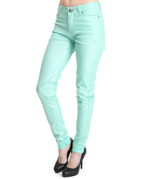 Apple Bottoms - Women Teal Shimmer Twill Pant