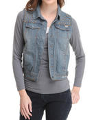Outerwear - Studded Lace Back Trim Denim Vest
