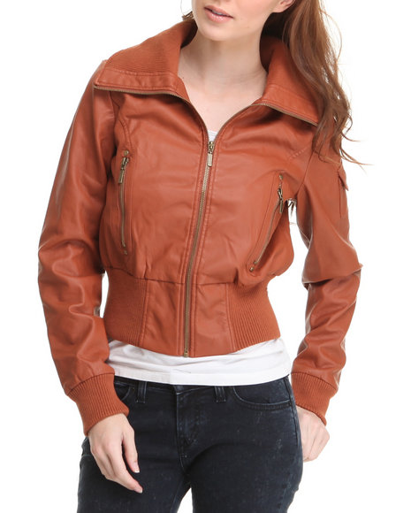 Basic Essentials Women Brown Batton Bomber Vegan Leather Jacket