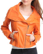 Women - Mineral Wash Asymmetrical Zip Up Motorcycle Jacket