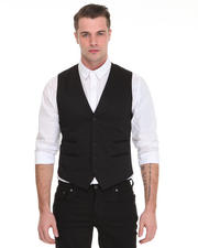 Vests - Tonal Plaid Vest w/ Besome Pocket