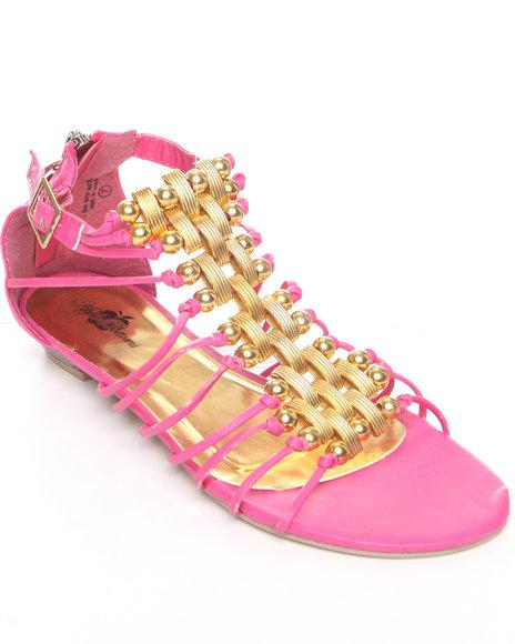 Apple Bottoms Women Pink Stretch Gladiator Sandal