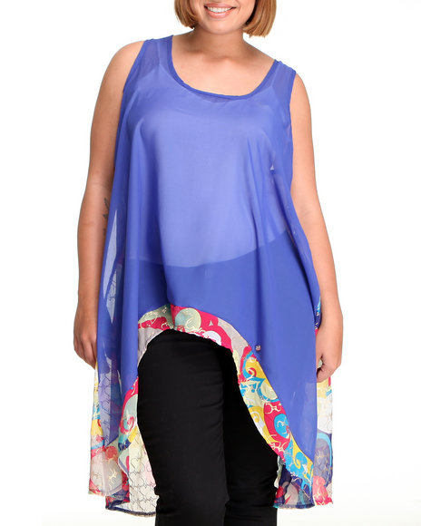 Apple Bottoms Women Blue High Low Hem Chiffon Printed Back Top (Plus Size)