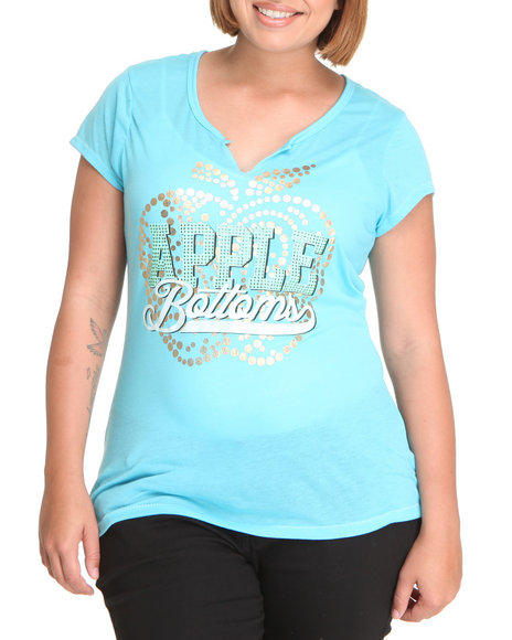 Apple Bottoms Women Blue Cut-Out Scoop Neck Apple Logo Tee (Plus)