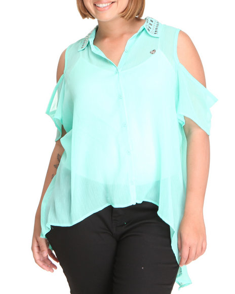 Apple Bottoms Women Teal Cold Shoulder Embellished Collar Chiffon Top (Plus Size)