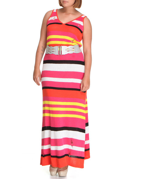 Apple Bottoms Women Red Pintriped Belted Maxi Dress (Plus Size)