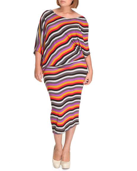Apple Bottoms - Women Multi, Red Bias Cut Striped Maxi Dress (Plus)