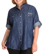 Polos & Button-Downs - Long Sleeve Light Weight Denim Shirt (Plus)