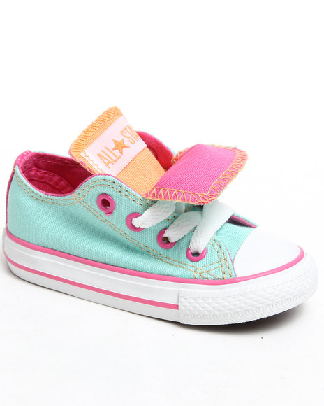 Converse Girls Green Chuck Taylor All Star Double Tongue (5-10)