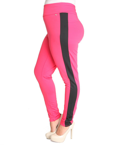 Apple Bottoms Women Pink High Waisted Side Colorblock Zip Back Pant (Plus Size)