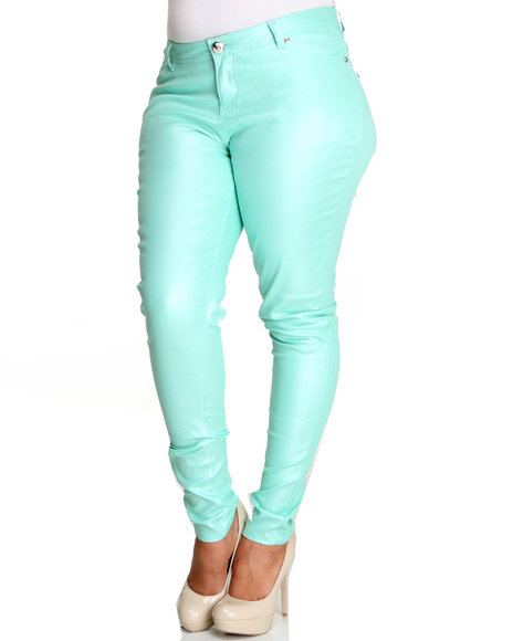 Apple Bottoms Women Teal Shimmer Twill Pant (Plus)