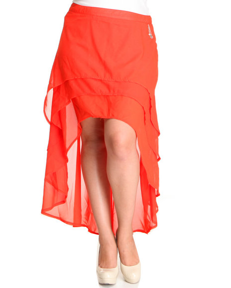 Apple Bottoms Women Red High Low Hem Layered Solid Chiffon Skirt (Plus Size)