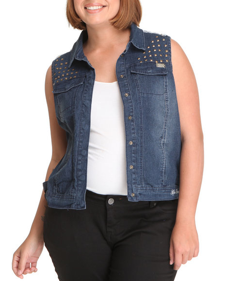 Apple Bottoms Women Medium Wash Studded Lace Back Trim Denim Vest (Plus)