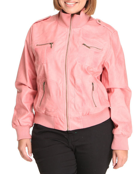 Basic Essentials Women Pink Penny Mineral Wash Vegan Leather Bomber Jacket (Plus)