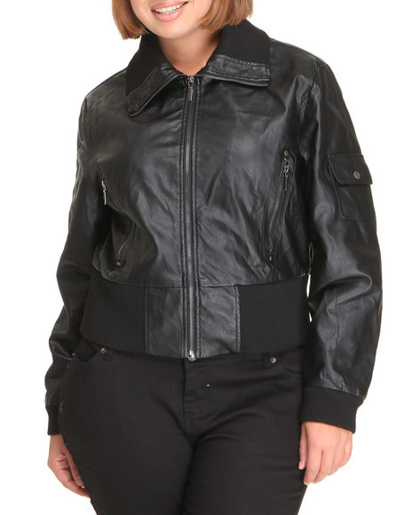 Basic Essentials Women Black Batton Bomber Vegan Leather Jacket (Plus)